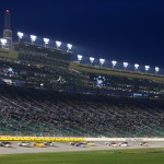 KANSAS CITY, KS - MAY 08:  Trucks race during the NASCAR Camping World Truck Series Toyota Tundra 250 at Kansas Speedway on May 8, 2015 in Kansas City, Kansas.  (Photo by Jerry Markland/Getty Images)