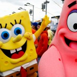 KANSAS CITY, KS - MAY 09:  SpongeBob and Patrick mascots perform prior to the NASCAR Sprint Cup Series SpongeBob SquarePants 400 at Kansas Speedway on May 9, 2015 in Kansas City, Kansas.  (Photo by Jerry Markland/Getty Images)