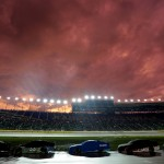 KANSAS CITY, KS - MAY 09:  The sun sets over pit road during a rain delay of the NASCAR Sprint Cup Series SpongeBob SquarePants 400 at Kansas Speedway on May 9, 2015 in Kansas City, Kansas.  (Photo by Jerry Markland/Getty Images)