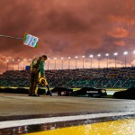 KANSAS CITY, KS - MAY 09:  The sun sets over pit road during a rain delay of the NASCAR Sprint Cup Series SpongeBob SquarePants 400 at Kansas Speedway on May 9, 2015 in Kansas City, Kansas.  (Photo by Jonathan Ferrey/Getty Images)