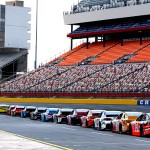 CHARLOTTE, NC - MAY 15: Cars line the grid during practice for the NASCAR Sprint Cup Series All-Star Race at Charlotte Motor Speedway on May 15, 2015 in Charlotte, North Carolina.  (Photo by Jerry Markland/Getty Images)