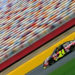 CHARLOTTE, NC - MAY 15:  Jeff Gordon, driver of the #24 Axalta Coating Systems Chevrolet, practices for the NASCAR Sprint Cup Series All-Star Race at Charlotte Motor Speedway on May 15, 2015 in Charlotte, North Carolina.  (Photo by Chris Trotman/Getty Images)