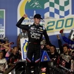 CHARLOTTE, NC - MAY 15:  Kasey Kahne, driver of the #00 Haas Automation Chevrolet, celebrates in victory lane after winning the NASCAR Camping World Truck Series North Carolina Education Lottery 200 at Charlotte Motor Speedway on May 15, 2015 in Charlotte, North Carolina.  (Photo by Brian Lawdermilk/Getty Images)