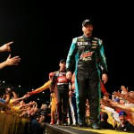 CHARLOTTE, NC - MAY 16:  Dale Earnhardt Jr., driver of the #88 Mountain Dew Baja Blast Chevrolet, is introduced prior to the NASCAR Sprint Cup Series Sprint All-Star Race at Charlotte Motor Speedway on May 16, 2015 in Charlotte, North Carolina.  (Photo by Daniel Shirey/Getty Images)