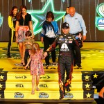 CHARLOTTE, NC - MAY 16: Jeff Gordon, driver of the #24 Axalta Coating Systems Chevrolet, is introduced with his family prior to the NASCAR Sprint Cup Series Sprint All-Star Race at Charlotte Motor Speedway on May 16, 2015 in Charlotte, North Carolina.  (Photo by Jerry Markland/Getty Images)
