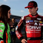 CHARLOTTE, NC - MAY 21:  Jeff Gordon, driver of the #24 Drive To End Hunger Chevrolet, talks to Danica Patrick, driver of the #10 GoDaddy Chevrolet, on the grid prior to qualifying for the NASCAR Sprint Cup Series Coca-Cola 600 at Charlotte Motor Speedway on May 21, 2015 in Charlotte, North Carolina.  (Photo by Jerry Markland/Getty Images)