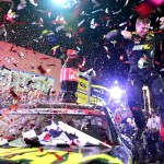 CHARLOTTE, NC - MAY 24: Carl Edwards, driver of the #19 Subway Toyota, celebrates in Victory Lane after winning the NASCAR Sprint Cup Series Coca-Cola 600 at Charlotte Motor Speedway on May 24, 2015 in Charlotte, North Carolina.  (Photo by Jared C. Tilton/Getty Images)