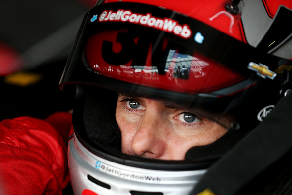 DOVER, DE - MAY 30:  Jeff Gordon, driver of the #24 3M Chevrolet, sits in his car in the garage area during practice for the NASCAR Sprint Cup Series FedEx 400 Benefiting Autism Speaks at Dover International Speedway on May 30, 2015 in Dover, Delaware.  (Photo by Nick Laham/Getty Images)
