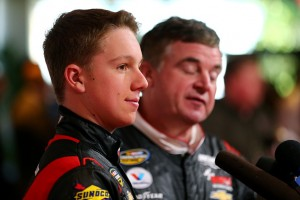 DAYTONA BEACH, FL - FEBRUARY 12:  NASCAR Camping World Truck Series drivers John Hunter (L) and Joe Nemechek speak to the media during the 2015 NASCAR Media Day at Daytona International Speedway on February 12, 2015 in Daytona Beach, Florida.  (Photo by Maddie Meyer/Getty Images)