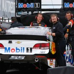 "LONG POND, PA - JUNE 05:  The #14 Mobil 1/Bass Pro Shops Chevrolet crew rolls a bakcup car off their transporter following an on-track incident for driver Tony Stewart (not pictured) during practice for the NASCAR Sprint Cup Series Axalta ""We Paint Winners"" 400 at Pocono Raceway on June 5, 2015 in Long Pond, Pennsylvania.  (Photo by Jerry Markland/Getty Images)"