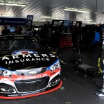 LONG POND, PA - JUNE 06:  Kasey Kahne, driver of the #5 Farmers Chevrolet, looks on from the garage area during practice for the NASCAR Sprint Cup Series Axalta 'We Paint Winners' 400 at Pocono Raceway on June 6, 2015 in Long Pond, Pennsylvania.  (Photo by Jared C. Tilton/Getty Images)