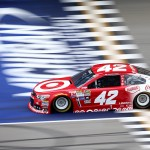 BROOKLYN, MI - JUNE 12:  Kyle Larson, driver of the #42 Target Chevrolet, drives during practice for the NASCAR Sprint Cup Series Quicken Loans 400 at Michigan International Speedway on June 12, 2015 in Brooklyn, Michigan.  (Photo by Rey Del Rio/Getty Images)