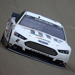 BROOKLYN, MI - JUNE 12:  Brad Keselowski, driver of the #2 Miller Lite Ford, practices for the NASCAR Sprint Cup Series Quicken Loans 400 at Michigan International Speedway on June 12, 2015 in Brooklyn, Michigan.  (Photo by Chris Trotman/Getty Images)