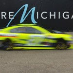 BROOKLYN, MI - JUNE 12:  Paul Menard, driver of the #27 Moen/Menards Chevrolet, drives out of the garage area during practice for the NASCAR Sprint Cup Series Quicken Loans 400 at Michigan International Speedway on June 12, 2015 in Brooklyn, Michigan.  (Photo by Drew Hallowell/Getty Images)