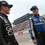 BROOKLYN, MI - JUNE 12:  Kasey Kahne, driver of the #5 Great Clips Chevrolet, talks with Jeff Gordon, driver of the #24 PANASONIC Chevrolet, after qualifying on the pole for the NASCAR Sprint Cup Series Quicken Loans 400 at Michigan International Speedway on June 12, 2015 in Brooklyn, Michigan.  (Photo by Brian Lawdermilk/Getty Images)
