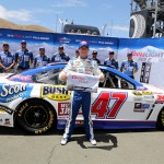 SONOMA, CA - JUNE 27:  AJ Allmendinger, driver of the #47 Kingsford Charcoal Chevrolet, poses with the Coors Light Pole Award after qualifying for pole position for the NASCAR Sprint Cup Series Toyota/Save Mart 350 at Sonoma Raceway on June 27, 2015 in Sonoma, California.  (Photo by Jerry Markland/Getty Images)