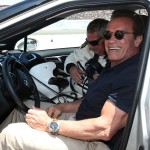 SONOMA, CA - JUNE 28:  Actor and former governor of California Arnold Schwarzenegger poses for a photo before driving the 2016 Toyota Mirai pace car, a hydrogen fuel-cell electric vehicle, on pit road prior to the NASCAR Sprint Cup Series Toyota/Save Mart 350 at Sonoma Raceway on June 28, 2015 in Sonoma, California.  (Photo by Chris Graythen/Getty Images)