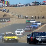 SONOMA, CA - JUNE 28:  Martin Truex Jr., driver of the #78 Furniture Row/Visser Precision Chevrolet, leads a pack of cars during the NASCAR Sprint Cup Series Toyota/Save Mart 350 at Sonoma Raceway on June 28, 2015 in Sonoma, California.  (Photo by Jerry Markland/Getty Images)