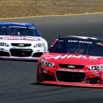 SONOMA, CA - JUNE 28:  Kurt Busch, driver of the #41 Haas Automation Chevrolet, leads AJ Allmendinger, driver of the #47 Kingsford Charcoal Chevrolet, during the NASCAR Sprint Cup Series Toyota/Save Mart 350 at Sonoma Raceway on June 28, 2015 in Sonoma, California.  (Photo by Robert Laberge/Getty Images)