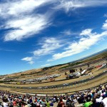 SONOMA, CA - JUNE 28:  A view of cars racing during the NASCAR Sprint Cup Series Toyota/Save Mart 350 at Sonoma Raceway on June 28, 2015 in Sonoma, California.  (Photo by Robert Laberge/Getty Images)