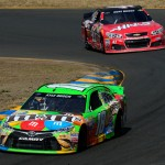 SONOMA, CA - JUNE 28:  Kyle Busch, driver of the #18 M&M's Crispy Toyota, leads Kurt Busch, driver of the #41 Haas Automation Chevrolet, at the end of the NASCAR Sprint Cup Series Toyota/Save Mart 350 at Sonoma Raceway on June 28, 2015 in Sonoma, California.  (Photo by Robert Laberge/Getty Images)