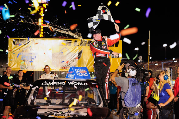 Madison, IL - JUNE 13: Cole Custer driver of the #00 Haas Automation Chevrolet celebrates after winning the NASCAR Camping World Truck Series Drivin' for Linemen 200 at Gateway Motorsports Park on June 13, 2015 in Madison, Illinois.  (Photo by Jeff Curry/NASCAR via Getty Images) *** Local Caption ***  Cole Custer