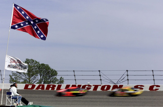 Confederate flags can still be seen in the infield at NASCAR races. (Getty Images)