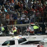 DAYTONA BEACH, FL - JULY 06:  Damage to the catch fence is seen after Austin Dillon, driver of the #3 Bass Pro Shops Chevrolet, flipped his car following the checkered flag during the NASCAR Sprint Cup Series Coke Zero 400 Powered by Coca-Cola at Daytona International Speedway on July 6, 2015 in Daytona Beach, Florida.  (Photo by Chris Graythen/Getty Images)