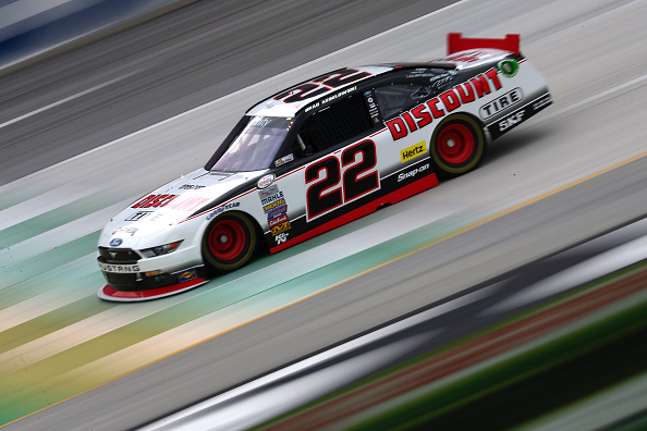 SPARTA, KY - JULY 09: Brad Keselowski, driver of the #22 Discount Tire Ford, drives during practice for the NASCAR XFINITY Series July Kentucky Race at Kentucky Speedway on July 9, 2015 in Sparta, Kentucky.  (Photo by Sarah Crabill/Getty Images)