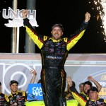 SPARTA, KY - JULY 09:  Matt Crafton, driver of the #88 Ideal Door/Menards Toyota, celebrates after winning the NASCAR Camping World Truck Series UNOH 225 at Kentucky Speedway on July 9, 2015 in Sparta, Kentucky.  (Photo by Sarah Crabill/Getty Images)