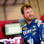 SPARTA, KY - JULY 10:  Dale Earnhardt Jr., driver of the #88 Nationwide Chevrolet, stands in the garage area during practice for the NASCAR Sprint Cup Series Quaker State 400 Presented by Advance Auto Parts at Kentucky Speedway on July 10, 2015 in Sparta, Kentucky.  (Photo by Jeff Curry/Getty Images)