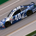 SPARTA, KY - JULY 10:  Jimmie Johnson, driver of the #48 Lowe's Pro Services Chevrolet, practices for the NASCAR Sprint Cup Series Quaker State 400 Presented by Advance Auto Parts at Kentucky Speedway on July 10, 2015 in Sparta, Kentucky.  (Photo by Sarah Crabill/Getty Images)