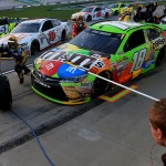 during the NASCAR Sprint Cup Series Quaker State 400 presented by Advance Auto Parts at Kentucky Speedway on July 11, 2015 in Sparta, Kentucky.