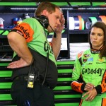 LOUDON, NH - JULY 17:  Danica Patrick, driver of the #10 GoDaddy Chevrolet, talks with her crew chief Daniel Knost during practice for the NASCAR Sprint Cup Series 5-Hour Energy 301 at New Hampshire Motor Speedway on July 17, 2015 in Loudon, New Hampshire.  (Photo by Maddie Meyer/Getty Images)