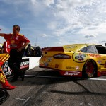LOUDON, NH - JULY 17:  Joey Logano, driver of the #22 Shell Pennzoil Ford, and his crew chief Todd Gordon wait on pit road during qualifying for the NASCAR Sprint Cup Series 5-Hour Energy 301 at New Hampshire Motor Speedway on July 17, 2015 in Loudon, New Hampshire.  (Photo by Jeff Zelevansky/Getty Images)