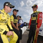 LOUDON, NH - JULY 17:  Matt Kenseth, left, driver of the #20 Dollar General Toyota, talks with Clint Bowyer, driver of the #15 5-Hour Energy Toyota, on the grid during qualifying for the NASCAR Sprint Cup Series 5-Hour Energy 301 at New Hampshire Motor Speedway on July 17, 2015 in Loudon, New Hampshire.  (Photo by Rainier Ehrhardt/Getty Images)