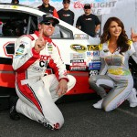 LOUDON, NH - JULY 17:  Carl Edwards, left, driver of the #19 Sport Clips Toyota, poses with Miss Coors Light Amanda Mertz and the Coors Light Pole Award decal after qualifying for pole position for the NASCAR Sprint Cup Series 5-Hour Energy 301 at New Hampshire Motor Speedway on July 17, 2015 in Loudon, New Hampshire.  (Photo by Maddie Meyer/Getty Images)