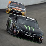 LOUDON, NH - JULY 18:  Kyle Busch, driver of the #54 Monster Energy Toyota, leads Denny Hamlin, driver of the #20 Sun Energy 1 Toyota, during the NASCAR XFINITY Series Lakes Region 200 at New Hampshire Motor Speedway on July 18, 2015 in Loudon, New Hampshire.  (Photo by Rainier Ehrhardt/Getty Images)