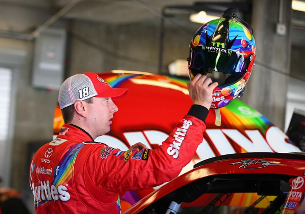 Kyle Busch in the garage during practice for the NASCAR Sprint Cup Series Crown Royal Presents the Jeff Kyle 400 at the Brickyard at Indianapolis Motorspeedway on July 24, 2015 in Indianapolis, Indiana.