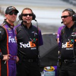 during qualifying for the NASCAR Sprint Cup Series Crown Royal Presents the Jeff Kyle 400 at the Brickyard at Indianapolis Motor Speedway on July 25, 2015 in Indianapolis, Indiana.