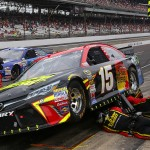INDIANAPOLIS, IN - JULY 26:  Clint Bowyer, driver of the #15 5-Hour Energy Toyota, pits during the NASCAR Sprint Cup Series Crown Royal Presents the Jeff Kyle 400 at the Brickyard at Indianapolis Motor Speedway on July 26, 2015 in Indianapolis, Indiana.  (Photo by Matt Sullivan/Getty Images)