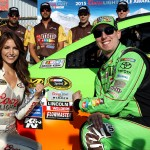 LONG POND, PA - JULY 31:  Kyle Busch, driver of the #18 M&M's Crispy Toyota, and Miss Coors Light Amanda Mertz pose with the Coors Light Pole Award after Busch qualifyied on the pole for the NASCAR Sprint Cup Series Windows 10 400 at Pocono Raceway on July 31, 2015 in Long Pond, Pennsylvania.  (Photo by Tim Bradbury/Getty Images)
