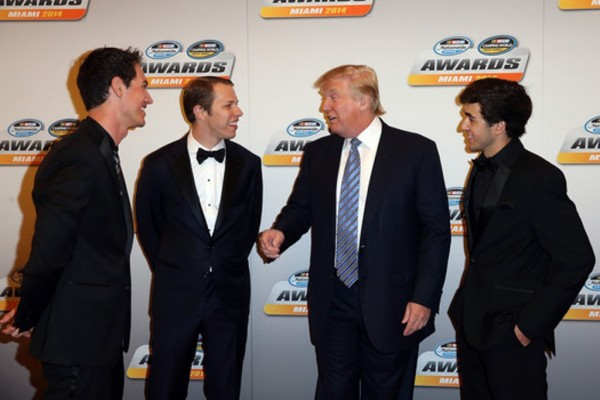 Donald Trump appears at the NASCAR awards banquet last November in Miami. (Getty Images)