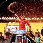 Christopher Bell celebrates after winning at Eldora Speedway on July 22, 2015 in Rossburg, Ohio.