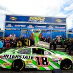 Kyle Busch, driver of the #18 Interstate Batteries Toyota, celebrates in Victory Lane after winning the NASCAR Sprint Cup Series 5-Hour ENERGY 301 at New Hampshire Motor Speedway on July 19, 2015 in Loudon, New Hampshire.