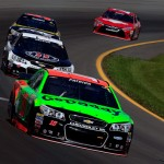 LONG POND, PA - AUGUST 01:  Danica Patrick, driver of the #10 GoDaddy Chevrolet, leads a pack of cars during practice for the NASCAR Sprint Cup Series Windows 10 400 at Pocono Raceway on August 1, 2015 in Long Pond, Pennsylvania.  (Photo by Chris Trotman/Getty Images)