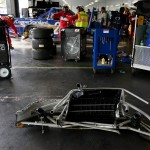 LONG POND, PA - AUGUST 01:  The #29 Cooper Standard Ford, driven by Brad Keselowski, is seen damaged in the garage area following an on-track incident during the NASCAR Camping World Truck Series Pocono Mountains 150 at Pocono Raceway on August 1, 2015 in Long Pond, Pennsylvania.  (Photo by Nick Laham/Getty Images)