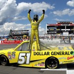 LONG POND, PA - AUGUST 01:  Kyle Busch, driver of the #51 Dollar General Toyota, celebrates after winning during the NASCAR Camping World Truck Series Pocono Mountains 150 at Pocono Raceway on August 1, 2015 in Long Pond, Pennsylvania.  (Photo by Tim Bradbury/Getty Images)