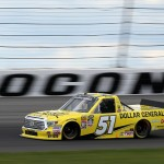 during the NASCAR Camping World Truck Series Pocono Mountains 150 at Pocono Raceway on August 1, 2015 in Long Pond, Pennsylvania.
