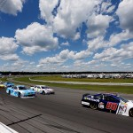 LONG POND, PA - AUGUST 02:  Dale Earnhardt Jr., driver of the #88 Microsoft Chevrolet, leads a pack of cars during the NASCAR Sprint Cup Series Windows 10 400 at Pocono Raceway on August 2, 2015 in Long Pond, Pennsylvania.  (Photo by Nick Laham/Getty Images)